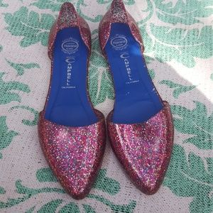 Pink Glitter Jeffrey Campbell Jelly Flats
